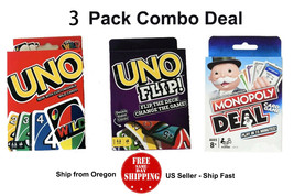 UNO Card Game & Monopoly Deal ( 3 PACK ) - US Seller - Ship Fast - Free ... - $13.25
