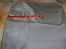 Designer Sleeper/ Dust Bag Large Prada Gray PVC with Red and white Logo - $7.99