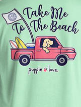 Puppie Love Rescue Dog Men Women Short Sleeve Graphic T-Shirt, To The Beach Pup image 2