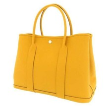 HERMES Garden Party PM Country Leather Jaune Ambre Silver HW Tote Bag #D... - $4,530.50