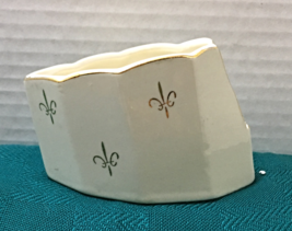 Vintage Slotted Porcelain Spoon Rest Gold Fleur de lis Pattern Elegant  - $9.99