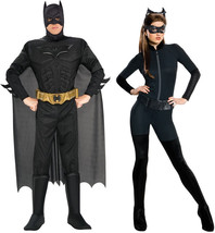 COUPLES THE DARK KNIGHT RISES BATMAN CATWOMAN ADULT COSTUME COSPLAY Hall... - $77.85