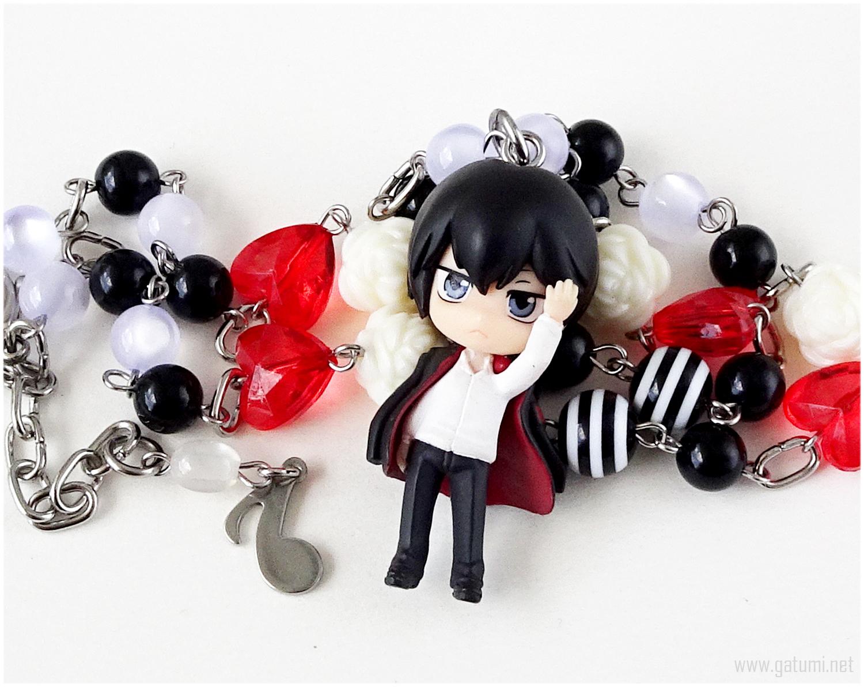 KHR Hibari Beaded Necklace, Anime Jewelry, Handmade - $33.00