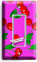 Red Hot Cherries Pink Polka Dots Single Rocker Light Switch Plate Kitchen Decor - $8.99
