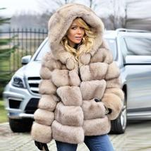 Women's thick Faux Fur Fox Fur Hooded Coat image 8