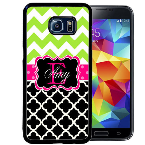 PERSONALIZED RUBBER CASE FOR SAMSUNG S9 S8 S7 S6 S5 PLUS BLACK QUARTERFOIL LIME