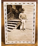 Tough Guy Holding a Stringer of Fish Fishing Antique Photo Snapshot Picture - $15.00