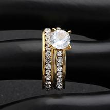 Sparkling Solitaire 8mm Cz Gold Stainless Steel Luxury Wedding Ring Set