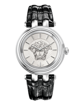 Versace Women's VQE020015 Khai Silver Ip Black Leather Wristwatch - $2,586.31