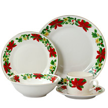 Gibson Home Poinsettia Holiday 20 Piece Ceramic Dinnerware Set - $111.21