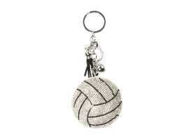 Volleyball Tassel Bling Faux Suede Stuffed Pillow Key Chain Handbag Charm - $12.95