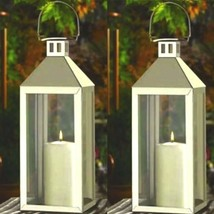 2 Large Silver Lantern Stainless Steel Tall Candle Holder Wedding Centerpieces - $57.27