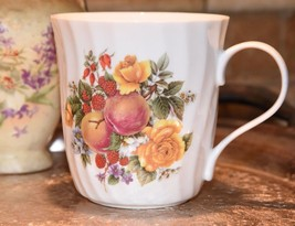 Crown Trent Harvest Coffee Mugs Staffordshire England Yellow Rose Apple ... - $24.99