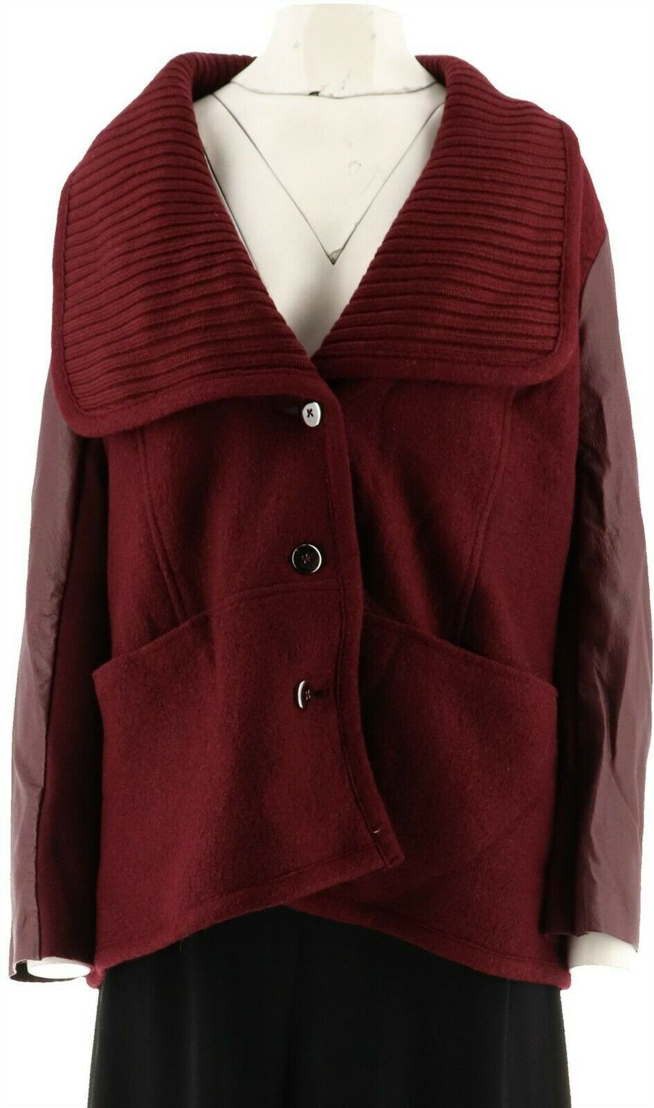 Primary image for Halston Casual Sweater Knit Collar Jacket Leather Slv Bordeaux 14 NEW A283888