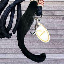 Navy Braided Trainer's Lead Rope Rawhide Accents & Horsehair Tassel image 2