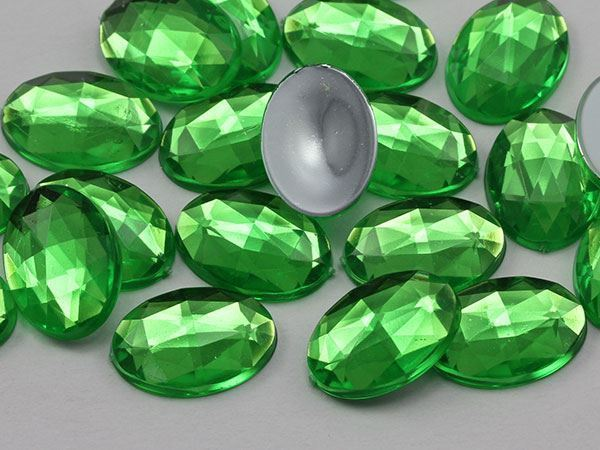 18x13mm Green Peridot .PD2 Flat Back Oval Acrylic Gemstones 35 PCS