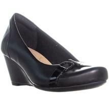 Clarks Flores Poppy Comfort Wedge Pumps, Black Leather, 8 US - $31.67