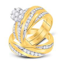 10k Yellow Gold His Hers Diamond Cluster Matching Bridal Wedding Ring Set 1-1/10 - $1,350.00