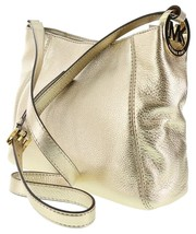 Michael Kors Fulton Medium Messenger Pale Gold Leather Crossbody Bag NWT - $179.00