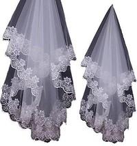 PEBridal 1.5m Wedding Veil Embroidered Lace Applique Edge Bridal Veils (White) - $12.23