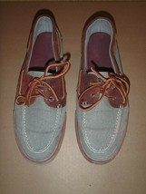 Sperry Top-Sider Burgundy Gray Canvas Leather 2 Eyelet Boat Shoe Mens 11M  - $37.39
