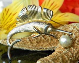 Vintage Sailfish Marlin Fish Figural Brooch Pin Gold Tone Faux Pearl  - $14.95