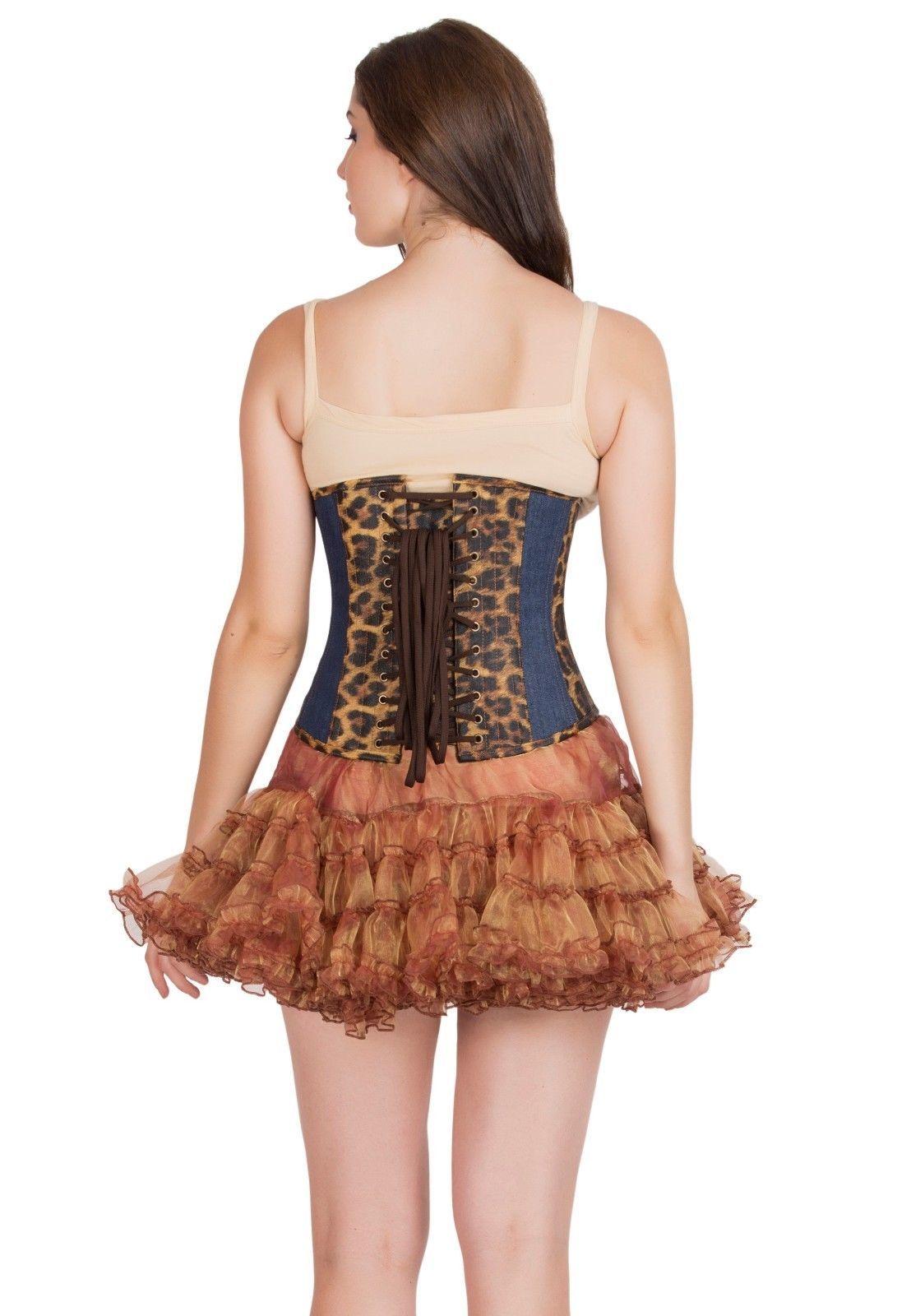Leopard Print Leather Blue Denim Gothic Burlesque Costume Underbust Corset Top