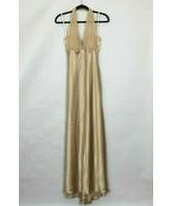 Vtg Davids Bridal Maxi Halter Dress Gown Gold Satin 6 USA Bridesmaid  Ev... - $43.00