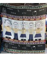 ABC's 123's School Children Holding Hands Woven Blanket 4'x4' Gift For T... - $26.73