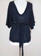 A/X Armani Exchange Sweater Knit Top Large Women blue crochet knit cotto... - $28.70