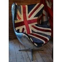 Industrial aluminium wingback aviator chair union jack fabric - $1,569.00