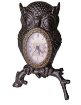 Cast Iron Wise Old Owl Desk Clock with Polished Brass Border AAA Battery - $29.69