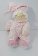 Kids Preferred baby doll soft plush pink minky dot hat white flower sati... - $17.81
