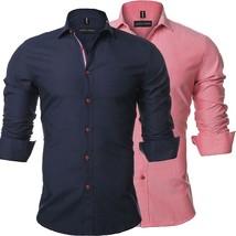 Trendy Men's Fashion Back To School Clothes Men's  Large Size Shirt Solid Color  - $42.64