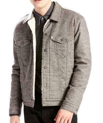 NEW LEVI'S MEN PREMIUM BUTTON UP SHERPA TRUCKER JACKET SASQUATCH GRAY 282490001