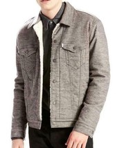NEW LEVI'S MEN PREMIUM BUTTON UP SHERPA TRUCKER JACKET SASQUATCH GRAY 282490001 image 1