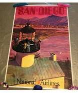 San Diego National Airlines Vintage Poster by Bill Simon - Good Condition - $430.65