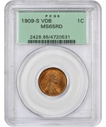 1909-S VDB 1c PCGS MS65 RD (OGH) Beautiful Gem Key Date, Old Green Label... - $5,092.50