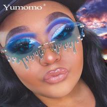 New Fashion Rimless Sunglasses Women Vintage Unique Tears Shape Steampunk Sungla image 2