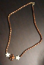 Vintage Wood Bead Necklace with Wooden Carved Flowers and Bird - $3.00