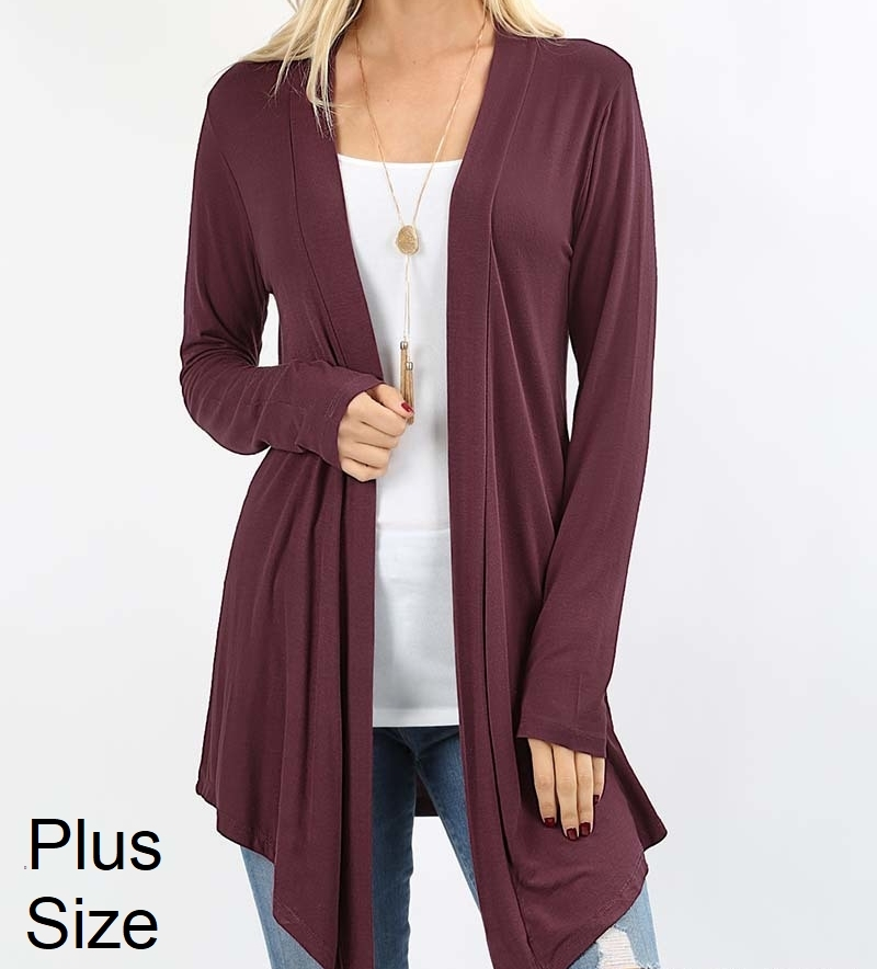 Plus Size Open Cardigan, Lightweight Drapey Cardigan, Plum Open Cardigan, Womens