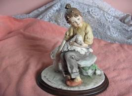 Vintage Capodimonte Sculpture Figurine Girl & White Lamb Sheep Signed Marini NIC - $242.55