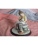 Vintage Capodimonte Sculpture Figurine Girl & White Lamb Sheep Signed Ma... - $242.55