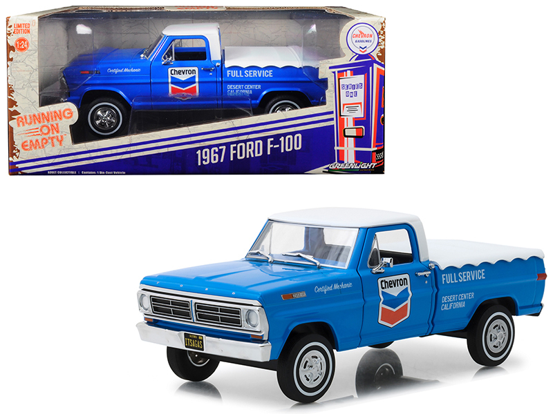 "1967 Ford F-100 with Bed Cover ""Chevron Full Service\"" Blue with White Top Runn"