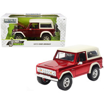 1973 Ford Bronco Candy Red with Cream Top Just Trucks 1/24 Diecast Model... - $29.90