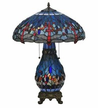 Dragonfly Lighted Base Table Lamp w Tiffany Style Blue Stained Glass Lam... - $790.02