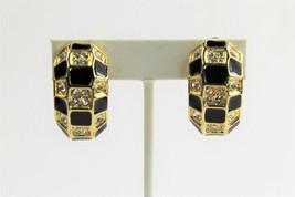 ESTATE VINTAGE Jewelry 80's 90's RHINESTONE BLACK ENAMEL HALF HOOP CLIP ... - $10.00