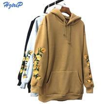 2017 New American Apparel Hooeded Sweatshirt Women Elegant Embroidery Flowers Lo - $39.98