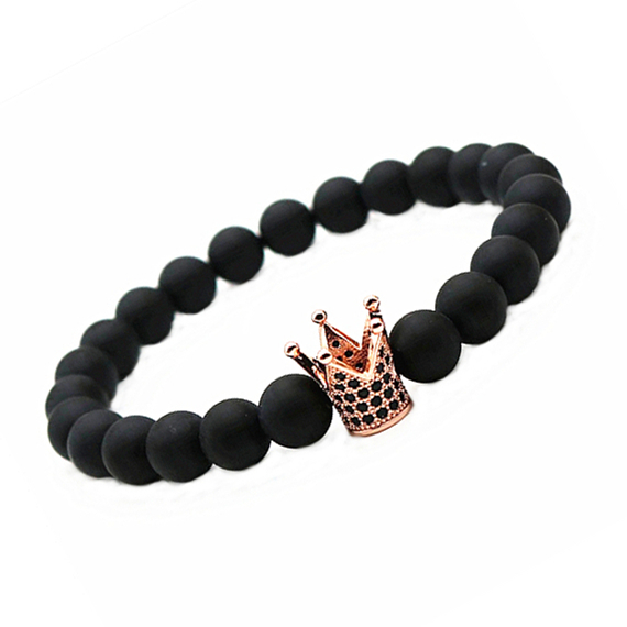 ATTYIRENA Hot Sale Micro Pave Black CZ Zirconia Gold Color King Crown Charm elas