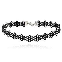 ELBLUVF Choker Necklace Flower Black Velvet Lace Choker Goth Tattoo Neck... - $1.99